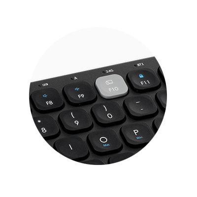 Scissor Keys with Multimedia Hot Keys and Low Battery Indicator