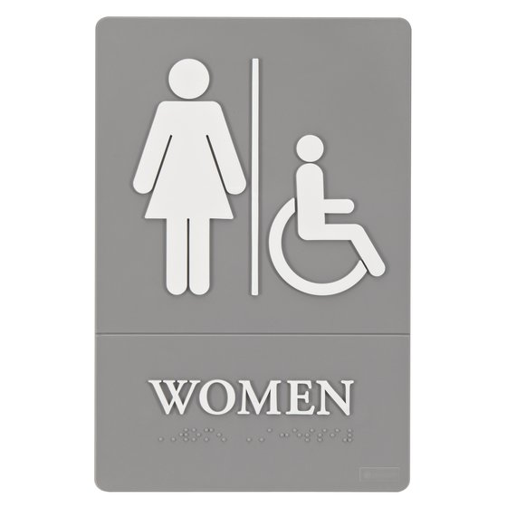 "Quartet® ADA Signs, Women (Accessible), 6"" x 9"", Grade 2 Braille"