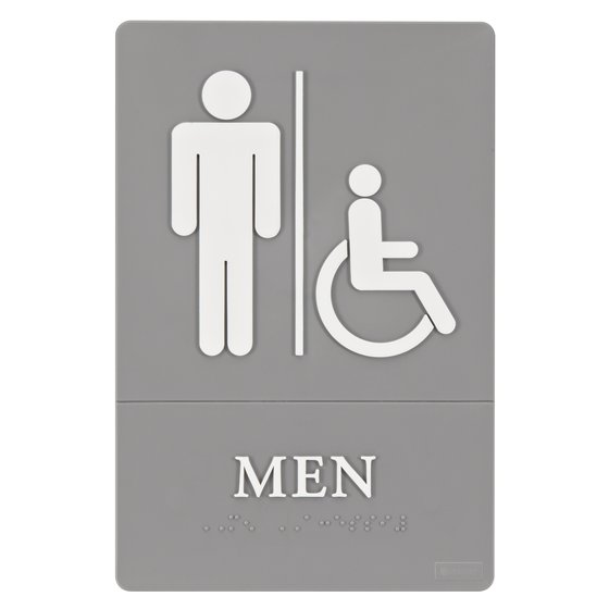 "Quartet® ADA Signs, Men (Accessible), 6"" x 9"", Grade 2 Braille"